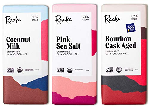 - Raaka Best Sellers Trio (1.8oz Bars - 3 Pack), Organic, Kosher Craft Artisan Chocolate, Vegan, Gluten and Soy Free, Gourmet, Bean-to-Bar Dark Chocolate - Great Gift for Chocolate Lovers