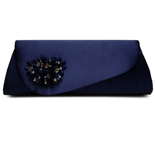 SAPPHIRE BOUTIQUE Zapatos De Vestir Mujer Floreado Cuentas Tacón Bajo Punta Abierta A Juego Cn Bolso Clutch Azul Marino (bolso)