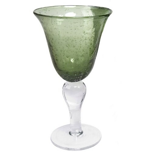 Artland Iris Seeded Sage Glass 14 Ounce Goblet, Set of 6 -  50955B