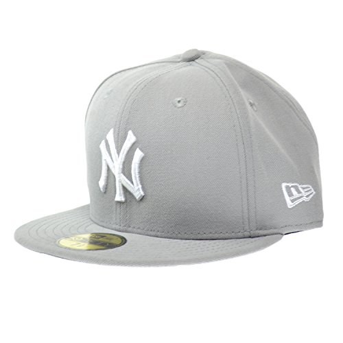 New Era New York Yankees MLB Basic 59FIFTY Cap Grey/White ne-mlbbasic-neyyan-gry (Size 7 1/8) ()