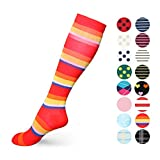 Graduated Compression Socks for Women & Men 20-30 mmHg - Moderate Compression Stockings For Running, Crossfit, Travel- Suits, Nurse, Maternity Pregnancy, Shin Splints (S/M, Rainbow)