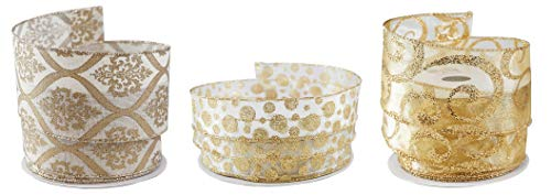 Damask Dots & Swirls Gold Glitter Fabric Ribbons - Pack of 3 Rolls