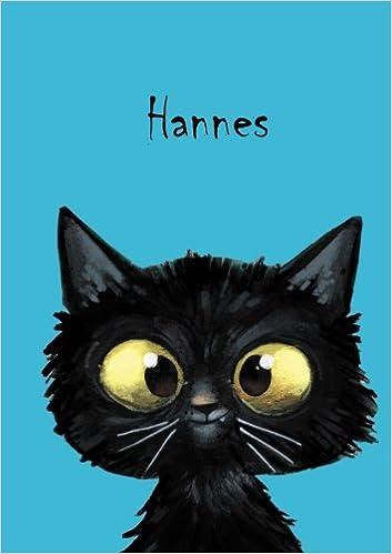 Hannes: Personalisiertes Notizbuch 80 blanko Seiten mit kleiner Katze auf jeder rechten unteren Seite eine Coverfinish /Über 2500 Namen bereits verf DIN A5 Durch Vornamen auf dem Cover