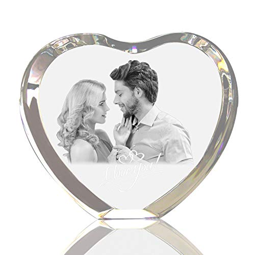 Qianruna Personalized Custom 2D/3D Laser Engraving Etched Crystal Glass Photo Picture Heart Block,Valentine's Day, Wedding, Mother's Day, Father's Day, ()