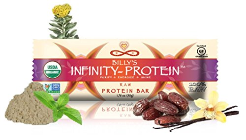 Cheap Billy's Infinity Protein Vanilla Raw Protein Bar, Organic and Wild Crafted Ingredients, Contains 18 Grams of Pure Plant Protein Per Serving, Non GMO and Gluten-Free, Full Case of 12 Bars