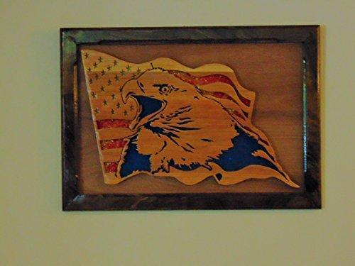 Scroll Saw American Eagle with Flag -