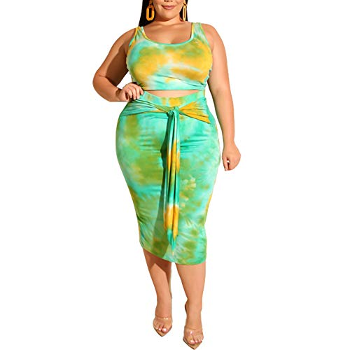 Women's Casual Summer Plus Size Tye Die Tank Crop Top Maxi Skirt Set Bodycon 2 Piece Floral Dress Lake Blue XL ()