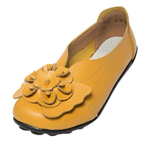 Sunshinehomely Women Sandals Flats Flower Peas Shoes, Soft Leather Slip-On Flats Pumps Casual Boat Slippers (Yellow, ()
