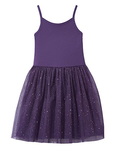 Sparkle Lined Skirt - City Threads Girls Princess Ballerina Tutu Dress Sparkle Tulle Bubble Mesh Skirt Sundress Summer Dance Soft Cotton Ballet Party Dress, Purple, 5