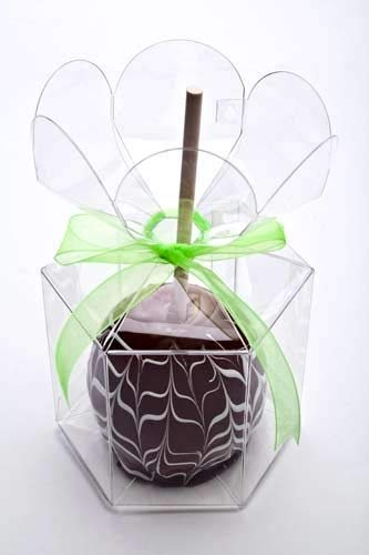 Flower Top Candy Apple Boxes - Clear w/Top Hole for Stick | 25 Boxes | Fancy Flower Top Boxes for Caramel Apples, Candy Apples & Toffee Apples | FDA Approved Food Safe, Material | FS212 -