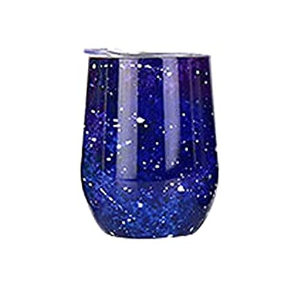 Jingrui 12//10oz Wine Glass Tumbler with Splash-Proof Lid Made with Vacuum Insulated Stainless Ecome elec Double Wall Stainless Coffee Cup for Wine Coffee Champagne Cocktails and Beer Merlot Rainbow