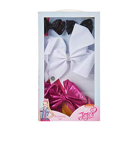 UPD JoJo Siwa Signature Collection Hair Bow - Fourpiece Box Set - 2 Mini Red Bows/ 1 Black Bow/ 1 Silver Sparkle Bow