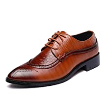 Mens Dress Shoes Oxford, Business Wedding Formal Brogue Chaussure Casual Leather Homme Cuir Lace Lacets Red Black Yellow 5.5-11