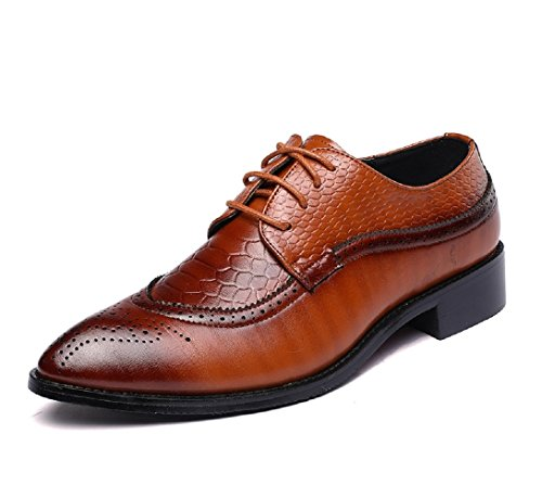 Scarpe Uomo Pelle, Stringate Derby Basse Oxford Vintage Brogue Verniciata Elegante Sera Nero Marrone Rosso 37-48EU Giallo