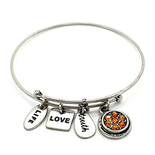 (KIS-Jewelry Symbology 'November' Birthstone Bangle Bracelet, Silver Plated - Expandable Wire Charm Bracelet with Sparkling Light Topaz Color Crystals - Perfect Jewelry for Fashion)