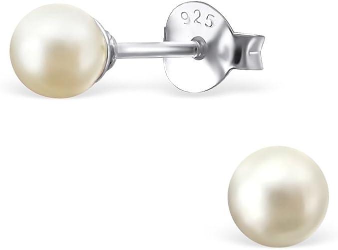 Damen Ohrstecker Ohrringe Ohrschmuck mit Süßwasser-Perlen creme-weiß 925 Silber