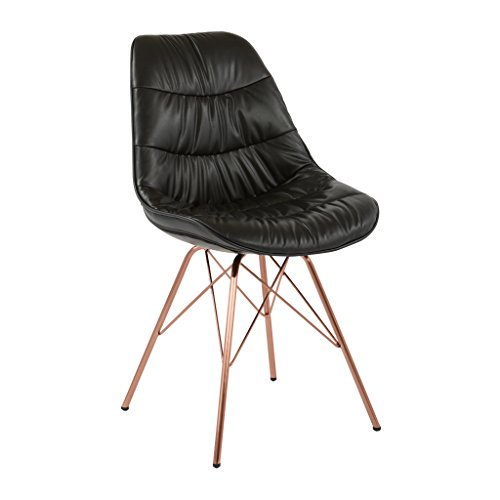Avenue Six AVE SIX Langdon Faux Leather Task Chair with Rose Gold Base, Black