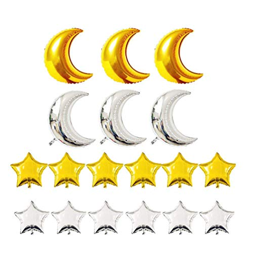 KIYOOMY Crescent Moon Shaped Mylar Balloons 36 inch Moon and Star Party Balloons Pack of 18 for Birthday Party Anniversary Celebrate Parties Wedding Baby Shower Decorations (Gold and Silver)