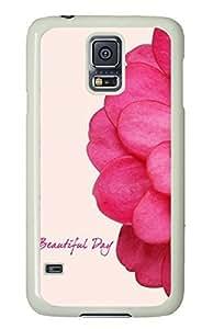 White Fashion Case for Samsung Galaxy S5,PC Case Cover for Samsung Galaxy S5 with Beautiful Day - Flower Pattern
