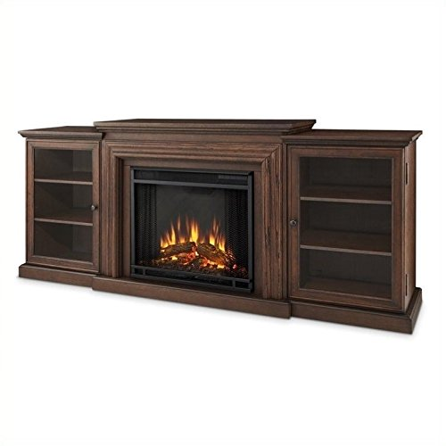 Oak Electric Fireplace Cabinet Mantel - Real Flame 7740/e 7740E Frederick Entertainment Center with Electric Fireplace, Large, Chestnut Oak