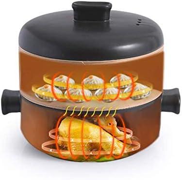 AGGF Cocotte en céramique avec couvercle vapeur et double poignée empilable résistant à la chaleur et ustensiles de cuisine sains Noir 1,58 litre
