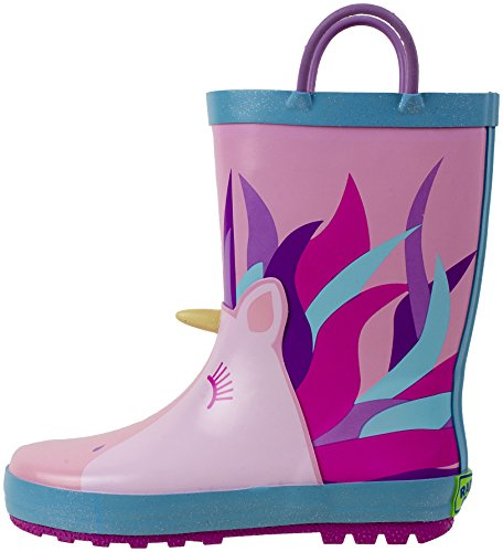 Picture of Rainbow Daze Unicorn Printed Waterproof Kids Rain Boots with Easy-on Handles, 100% Rubber Ages 2 to 9 (13/1, Unicorn Pink)