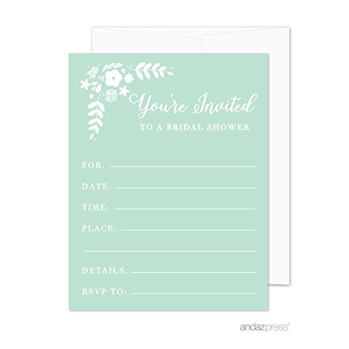 Mint Envelope (Andaz Press Floral Mint Green Wedding Collection, Blank Bridal Shower Invitations with Envelopes, 20-Pack)