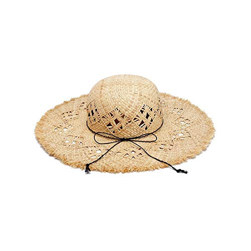Tengxiang Straw Hats Leisure Straw Hat Beach Hat Summer UV Visor Cap Hand-Woven Horse Orchid Big Sunbonnet Flat Hat (Color : Light Khaki, Size : 56-58CM)