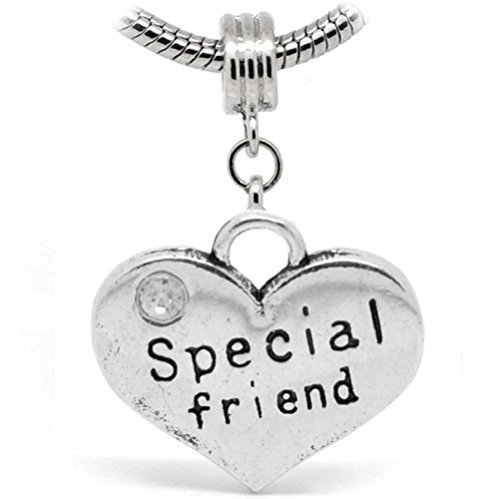 Pro Jewelry Special friend 2 Sides Heart Shaped Silver Dangle W/Rhinestone Charm Bead Compatible with European Snake Chain Bracelets