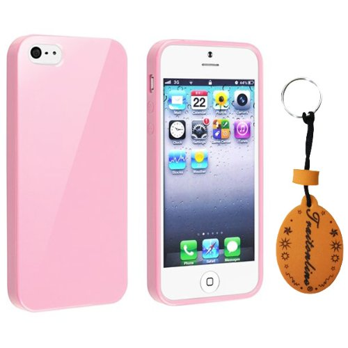 (TRAIT) HK Pink Silicone Rubber Protective Skin for iPhone 5 cases covers +AC wall charger adaptor +USB Data cable+screen protector + cleaning cloth + button sticker+ touch screen pen