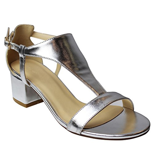 CAIHEE Womens Evening T strap Sandals