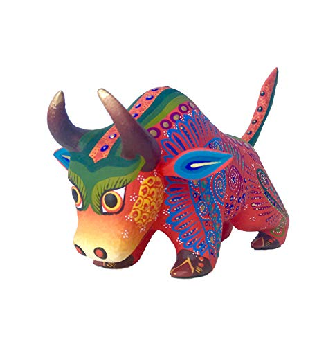 Mexican Alebrije Bull Wood Carving Handcrafted Sculpture (Orange)