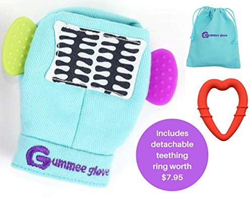 Gummee Glove Baby Teething Mitten Premium Quality 100% Cotton Mitt Detachable Teether Ring and Travel Bag 3 Months + Turquoise Undroppable Soothe Babies Painful Gums Multi-Award Winning (Gummee Glove)
