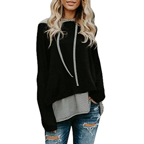 Auwer Women Top, Women Plus Size Irregular Stripe Casual Sweatshirt Long Sleeve Stitching Crop Jumper Pullover Tops (L, Black) (Womens Wear Waterfall)