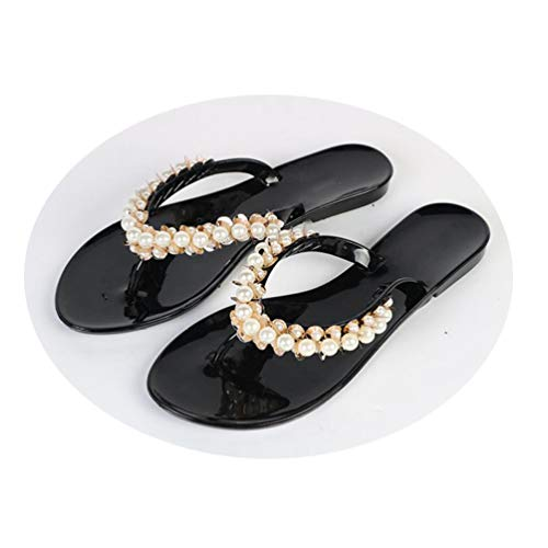 E8900 Ribbon - Crimeng Women Black Pink Flip Flop Summer Flats Pearl Decoration Solid Color Sandals Beach Slippers