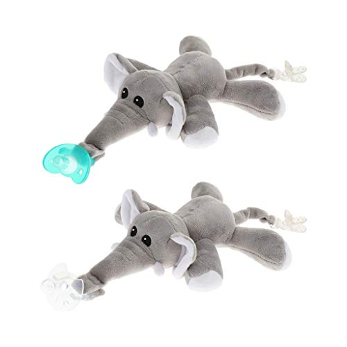 MagiDeal Baby Dummy Chupete Clip Alimentación Felpa Animal Toy Nipple Holder - Elefante, como se describe