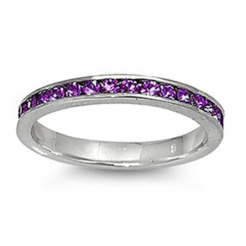 (3mm Channel Set Full Eternity Wedding Band Ring Round Simulated Amethyst 925 Sterling Silver, Size-7)