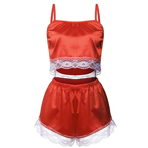 Sexy Lingerie for Women for Sex,Lace Satin Sleepwear Cami Top and Shorts Pajama Set(Red,X-Large
