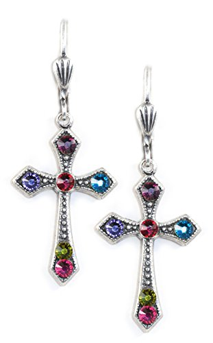 Clara Beau Elegant Multicolor Swarovski crystal Victortian Cross dangle earrings EX10 SilverTone Swarovski Crystal Crown Earring