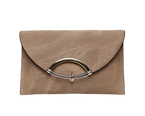 Frauen Große Kapazität Elegante Clutch Envelope Bag Umhängetasche Messenger Bag Mit Handschlaufe Beige