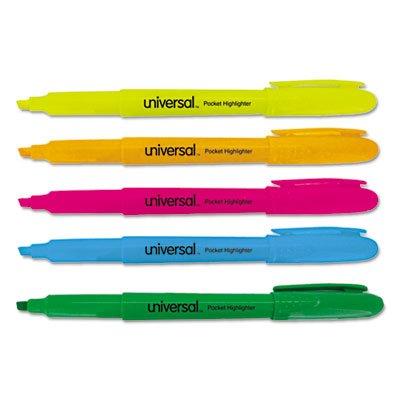 Universal Pocket Highlighter, Chisel Tip, Fluorescent Colors, 5/Set