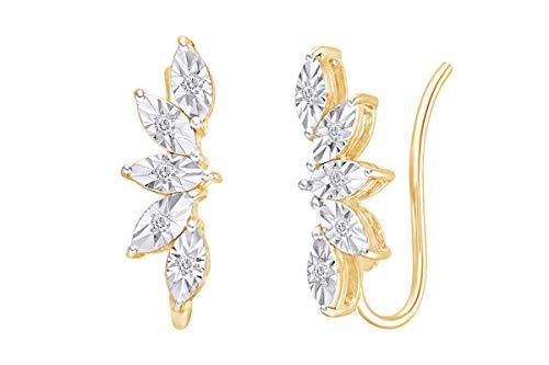 - Diamond Leaf Fan Crawler Earrings in 14k Yellow Gold Over Sterling Silver