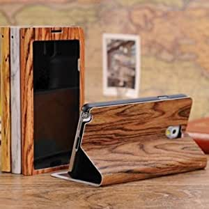 Wood Grain View Window Leather Case For Samsung Galaxy Note 3 --- Color:Orange
