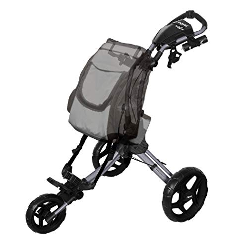 isc Golf Push Cart | Fits All Disc Golf Backpacks (Silver/Black) ()