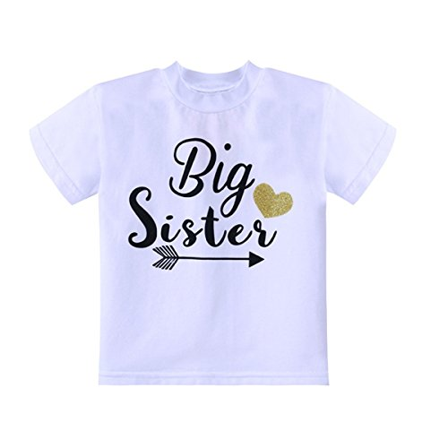 WINZIK Little Baby Girls Kids Toddlers Outfits Big Sister Print T-Shirt Pullover Tee Tops Clothes Costume Gift (3-4 Years, White) (Biggest Sister Big Sister Little Brother Shirts)