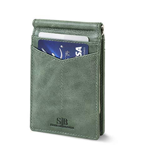 Travel Wallet RFID Blocking Bifold Slim Genuine Leather Thin Minimalist Front Pocket Wallets for Men Money Clip - Made From Full Grain Leather (Alpine Green Rogue) - Patent Leather Passport Cover