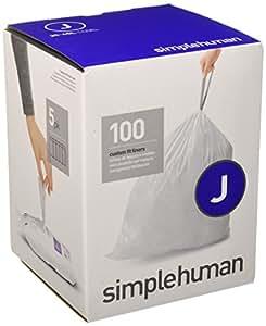simplehuman Code J Custom Fit Liners, Tall Kitchen Drawstring Trash Bags, 30-45 Liter/8-12 Gallon, 100-Count Box