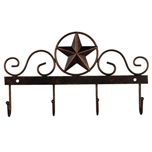 Western Wall Decorations (EBEI Metal Barn Star Key Rack Holder Wall Mounted Metal Decorative 10