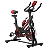 KUOKEL Cycling Bike, Indoor Exercise Bike Spin Bike 24lb Flywheel Digital Monitor Indoor Cycle Water Holder Adjustable Seat & Handlebars Home Use (Black)