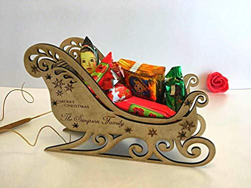 (Personalized Wooden Handmade Santa's Sleigh Delivering Christmas Eve Sweets Box Xmas Gifts for Family Laser Cut Engraved Name Holiday Santa Wood Ornament Merry Christmas Decorations 3D Rustic Present)